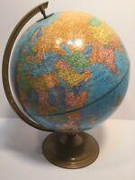"VINTAGE CRAM IMPERIAL 12"" WORLD GLOBE ON METAL BASE W/ RAISED RELIEF"