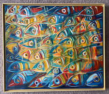 Vintage Brazilian Abstract Oil Painting On Canvas Of Fish