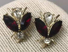 Vintage Signed Dodds Rhinestone Bee Bright Red / Clear Clip Earrings - Inc Ship