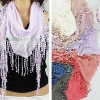 Fashion Women Dot Print Lace Tassel Cotton Triangle Scarf Ladies Shawl Wrap New