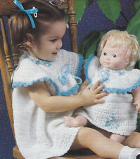 Crochet Pattern ~ BABY GIRLS DRESS & MATCHING  DOLL DRESS  ~ Instructions