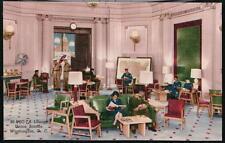 WASHINGTON DC Union Station USO-TA Lounge Vtg Military Postcard Old Linen PC
