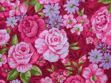 Landhaus Rosenstoffe Stoff Pink Rosen auf rot Burgunder Blumen Blüten BW 30x1,12