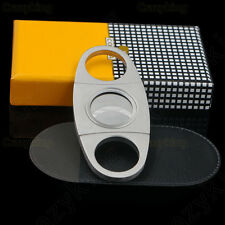 Cohiba Stainless Steel 2 Blade Cigar Cutter Scissors With Black Case In Gift Box