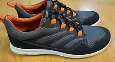 Ecco Mens Calgary Grey Black Orange Sneakers Shoes Size 42 US 8 8.5