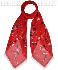 ALEXANDER MCQUEEN red FUNNY BONES Skeleton silk/modal Shawl scarf NWT Authentic