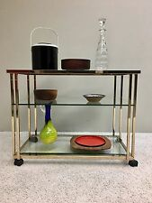 In The Style Of Milo Baughman 23 Karat Gold Plated and Glass BAR CART  3 Tiers