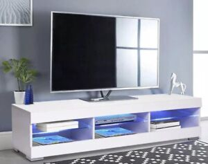 LED Light TV Cabinet Modern Unit Open Shelves TV Stand