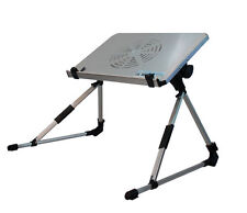 Portable Aluminum Foldable Laptop Notebook Reading E Table With Cooling Fan-Blue