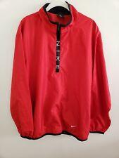 Mens Nike Shield Golf Jacket Windbreaker 1/2 Zip Pullover Red Medium M Med 56323