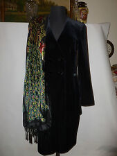 JACQUES VERT  BLACK VELVET  SUIT WITH PINK LINING  SIZE UK 10 TOP UK 12 SKIRT