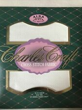 Charles Craft Aida Cross Stitch Fabric 14 Count 12 x 18 Inches Antique White