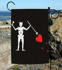 Toland Blackbeard's Jolly Roger 12.5 x 18 Pirate Skeleton Heart Garden Flag