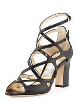 Jimmy Choo DILLAN Block Strappy Cage Block Heel Sandal Shoe Black  39, 9 US