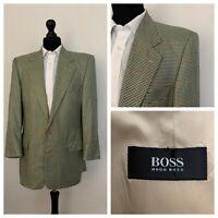 Hugo Boss Mens Jacket Blazer 40 Short Wool Silk Beige Blue Tweed Style  OR237