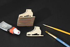 10 Wooden Ice Skate Craft Embellishments Blank Card Decorations