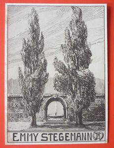 "Exlibris, Bookplate ""Emmy Stegemann"" Jugendstil, Bäume"