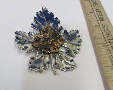 Sylvia Dahl Scarf Clip Pin Silver Tone Metal Leaf w/ Copper Butterfly Vintage
