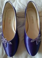 Women's Evening Shoes Purple Satin by Dyeables Low Heel Size 9 1/2