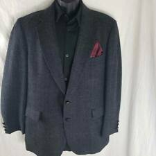 Southport Mens Two Button Suit Coat Black 100% Wool Glen Check Plaid Lined 44R