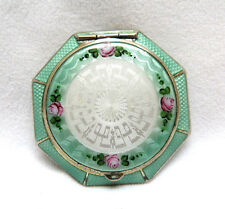 Finberg FMCO Silver & Gilt Guilloche Enamel 3 Section Octagon Powder Compact