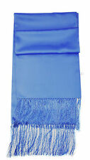 Mens Womens Cornflower Blue Satin Formal Evening Dress Scarf