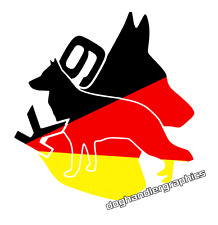 German Shepherd vehicle sticker decal German flag dog handler graphic   (s735)