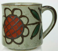 Vintage Speckled Clay Pottery Handmade Coffee Mug With Hand-Painted Flower New