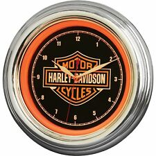 Harley-Davidson Bar & Shield Orange LED Wall Clock- 12in. Vintage Home Décor