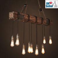 Industriel Vintage Rétro Pendentif Lampe Bois Solide Réglable Métal Chaînes