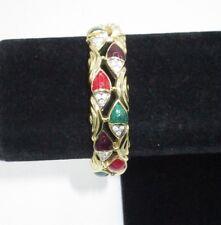 Bangle Bracelet Rhinestone Crystal Gold Tone Enamel Red Green Purple Statement