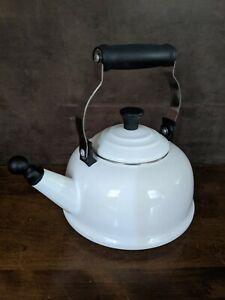 Le Creuset Whistling Tea Kettle White 1.7 Quart, White Enamel