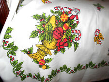 """Vintage CHRISTMAS HOLIDAY SANTA Ornaments Candy  Candle TABLECLOTH 62"""" x 81"""