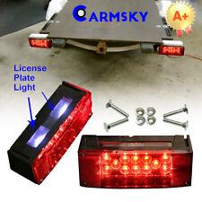 Left+Right Trailer Red Waterproof Rectangle Tail Light Brake Turn LED Signal 8''