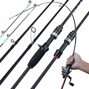 1.8m Casting Spinning Fishing Rod Carbon Fiber Travel Pole 3 Section Fast Action