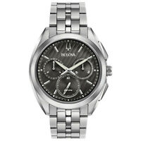 Bulova CURV Men's Quartz Chronograph Black Multi Dial 43mm Watch 96A186