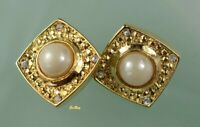Vintage Designer Clip on Earrings Gold Tone Faux Pearl Runway Couture Statement