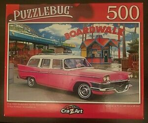 Puzzlebug 500 Piece Puzzle - Pink 1958 Studebaker by the Boardwalk 18.25  X 11