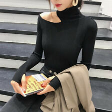 Sexy Women Off Shoulder Turtleneck Pullover Long Sleeve Knit Sweater Blouse Tops