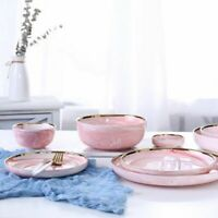 Dinnerware Pink Marble Ceramic Rice Salad Noodles Bowl Tableware Kitchen Tools