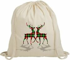 Christmas Festive Reindeer Tartan Gift Eco-Friendly Drawstring Rucksack Bag
