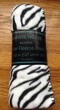 "Manor House Polar Fleece 50"" x 60"" White/Black Zebra Print FLEECE THROW New"