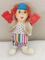 "Clown Doll  Plastic Vintage Toy 5.5"" Tall Collectible & Rare"