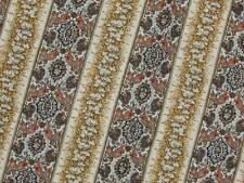 Vintage linen fabric earthy flowers floral stripe FQ fat quarter yd 1/4