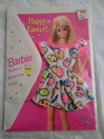 VINTAGE BARBIE GREETING CARD WITH DRESS HAPPY EASTER SEALED 1995 Mattel