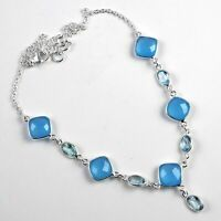 Chalcedony,Blue Topaz Solid 925 Sterling Silver Necklace Jewelry 12.5 Gm AN-316