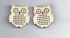 2 Pcs Wood Charm Pendants Owl Natural Cross stitch