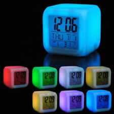 Digital Glowing Alarm Clock Portable Home Bedroom Kids 7 Color LED Change
