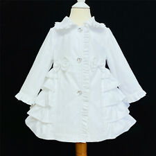 AW20 Wee Me Baby Girl White Ruffle Back Long Sleeve Jacket Perfect Winter
