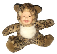 "Porcelain Face Plush Baby  Doll Animal Leopard 8"" USED"